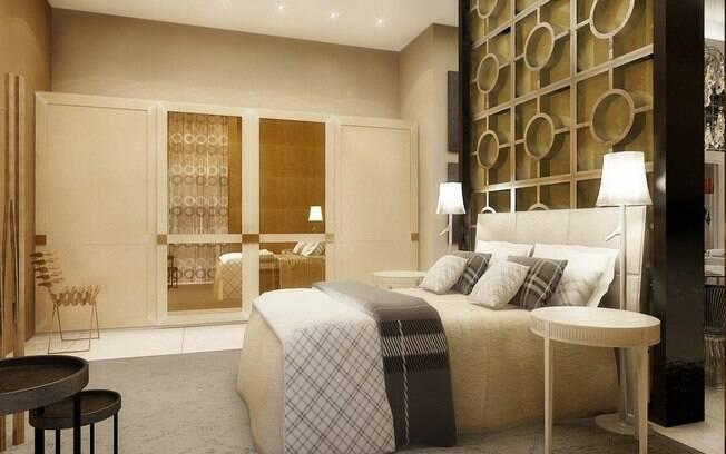 O que mais chama atenção no quarto do loft é a divisória em madeira com elementos vazados
