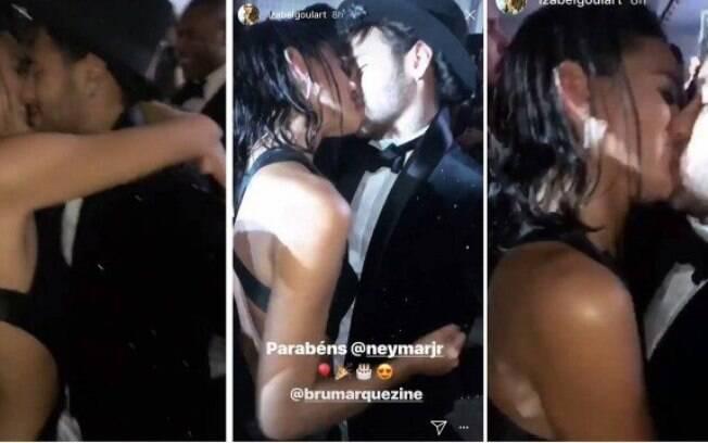 Neymar e Bruna Marquezine no maior love durante a festa do jogador
