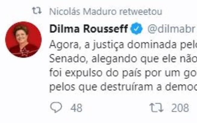 Maduro retuitou ex-presidente
