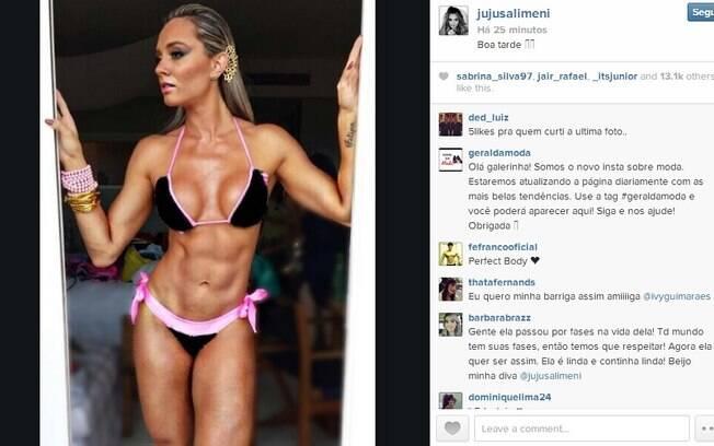 Juju Salimeni mostra corpo musculoso no Instagram