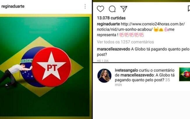 Ivete Sangalo curte comentário em foto anti-PT de Regina Duarte