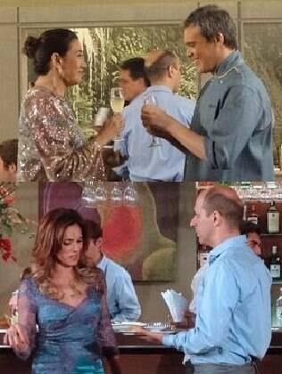 René e Griselda brindam à inauguração quando Tereza Cristina chega para provocá-los