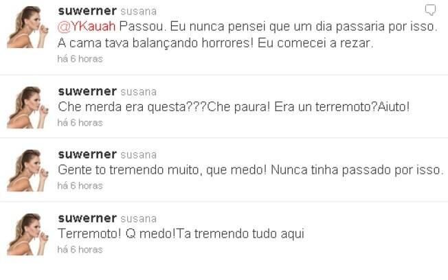 Susana relatou os momentos de pavor no Twitter