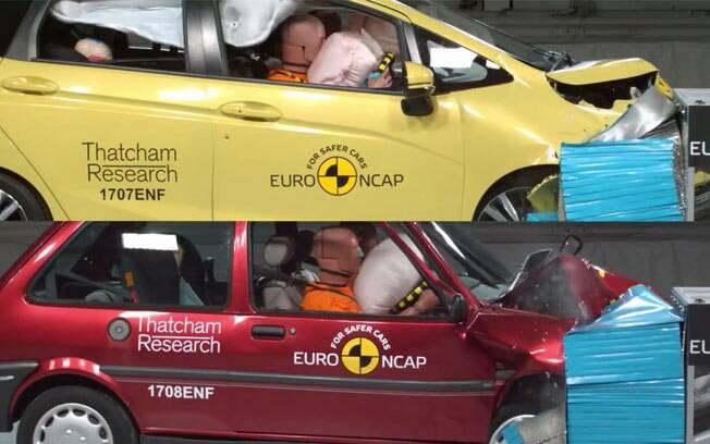 Em comemoração aos 20 anos do EuroNCAP, a entidade testou a segurança entre um modelo de 1997 e outro de 2017