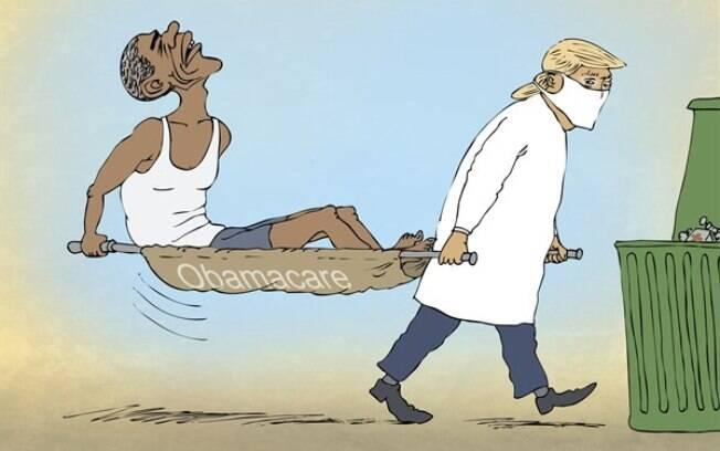 Vestido de médico, Trump carrega seu antecessor, Obama, e o programa de saúde Obamacare em direção a uma lata de lixo