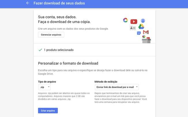 Nessa página o usuário pode escolher um tipo de arquivo e especificar se deseja fazer o download dele ou salvá-lo no Google Drive