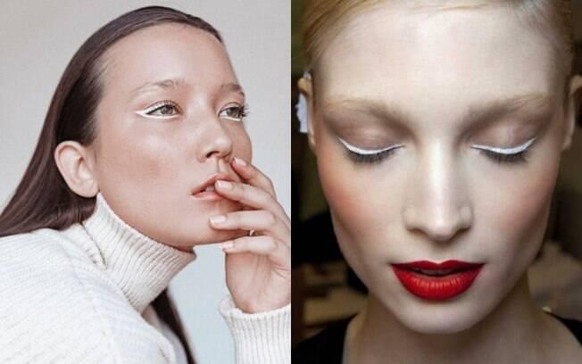 Optar pelo delineador branco também é uma forma de ousar na maquiagem e destacar o visual sem muito esforço