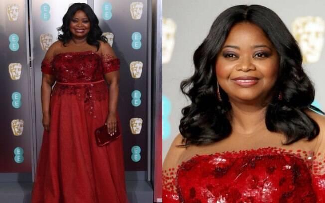Looks das famosas: Octavia Spencer apostou em um vestido Sachin & Babi com detalhes brilhantes e uma tela nos ombros