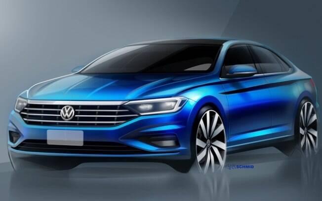 Esboço revela como será o estilo da nova geração do VW Jetta que será uma das atrações do Salão de Detroit, nos EUA