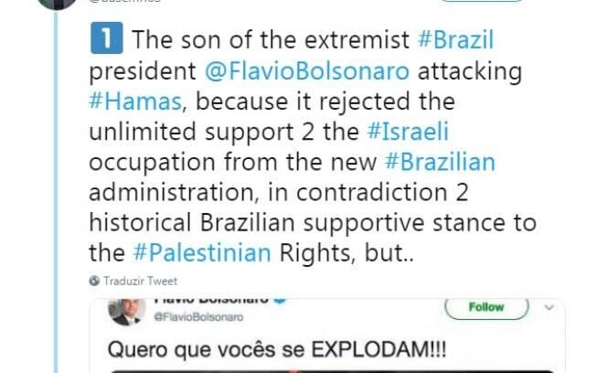 Postagem de Basem Naim, líder do Hamas, atacou Flávio Bolsonaro