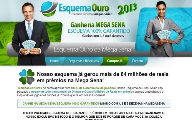 Reprodução da página EsquemaOuro que promete aumentar chances de ganhar na Mega-Sena