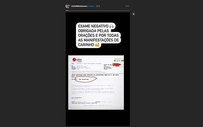 Michelle Bolsonaro divulgou em suas redes sociais exame negativo para Covid-19