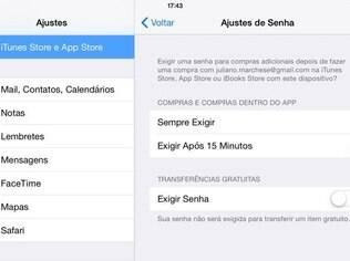 Usuário pode desabilitar a exigência de senha na hora de baixar apps e jogos gratuitos