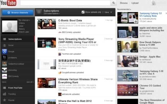Imagem da página inicial atual do YouTube, serviço de compartilhamento de vídeos do Google