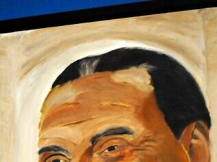 A portrait of former Italian Prime Minister Silvio Berlusconi which is part of the exhibit