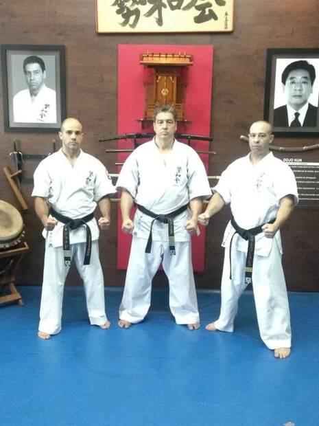Shihan Ricardo Granado, o Kancho Ademir da Costa (criador do Seiwakai) e o Sensei Jeferson Maran da Cruz