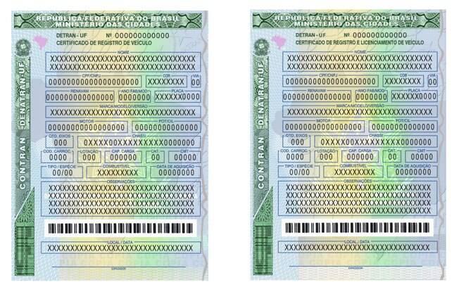 A documentação do veículo recebe um código de barras convencional na parte inferior.