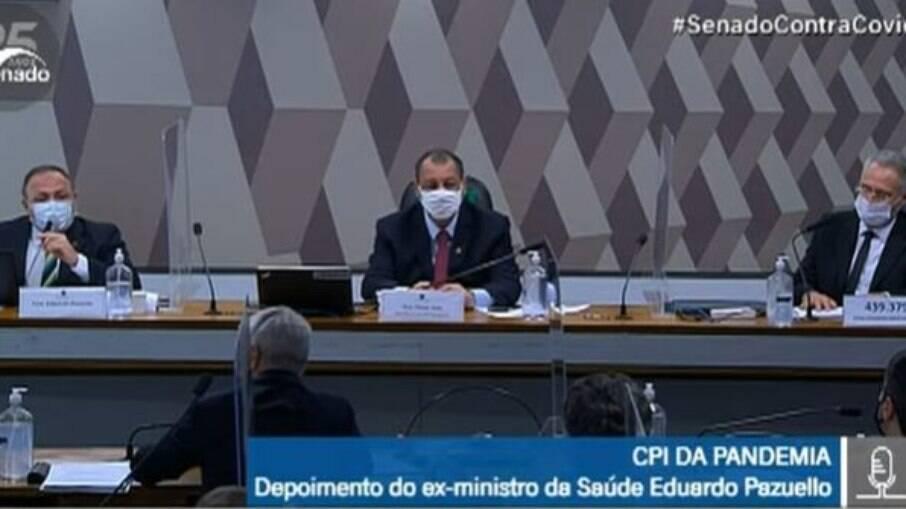 Eduardo Pazuello em depoimento na CPI da Covid nesta quarta-feira, 19