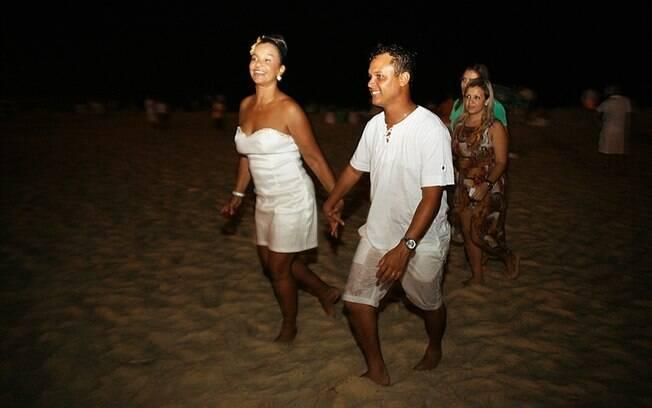 Após a ceia, Solange Couto e os amigos seguiram para a praia do Recreio dos Bandeirantes...