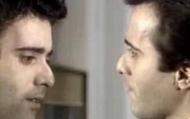 A clássica cena do encontro de Quinzinho e João Victor (Tony Ramos) em