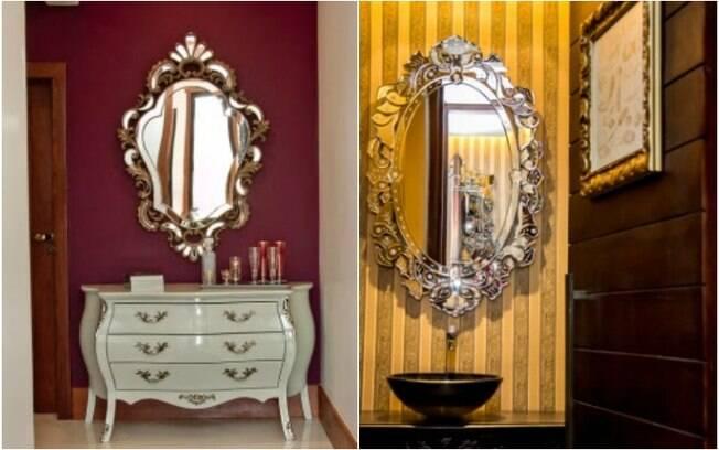 Uma opção de espelho decorativo é usar molduras mais rebuscadas