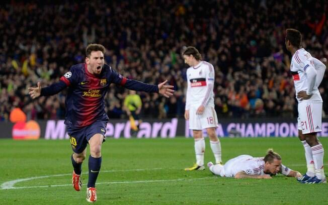 Messi comemora seu gol. No momento estava  tudo igual somando os resultados dos dois jogos  entre Barcelona e Milan