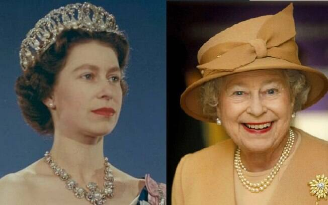 Rainha Elizabeth II jovem e atualmente