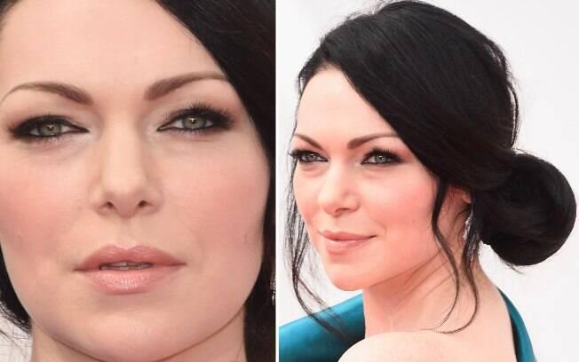 A atriz de Orange is The New Black, Laura Prepon, deixou o look bem romântico, com o coque baixo de lado e o contorno preto nos olhos