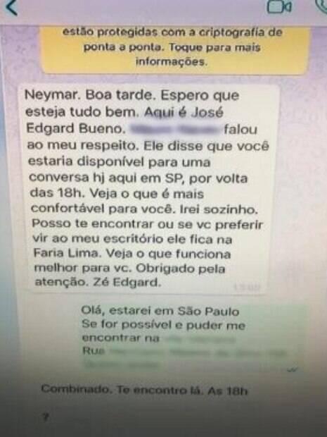 Print da conversa entre o pai de Neymar e o ex-advogado da mulher que acusa o atleta de estupro