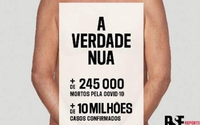 ONG Repórteres Sem Fronteiras divulgam campanha mundial contra o presidente Jair Bolsonaro