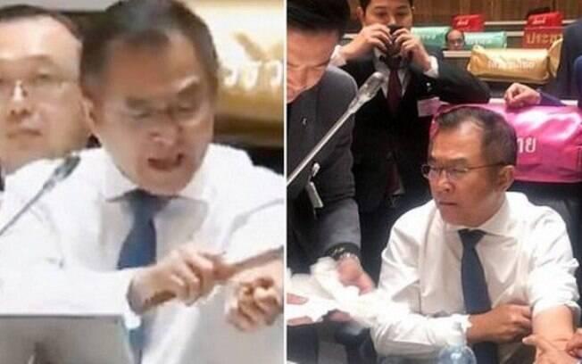 Deputado corta o próprio pulso em sessão parlamentar na Tailândia