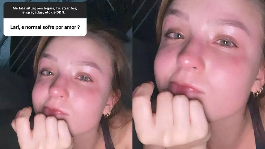 Larissa Manoela posta foto chorando e fala sobre sofrer por amor