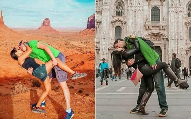 O casal conseguiu aguentar o namoro à distância se encontrando em locais diferentes e fotos viralizam