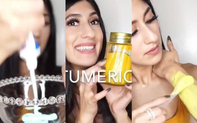 Para fazer a depilação, a blogueira usa pasta de dente e açafrão. Veja todos os detalhes no vídeo abaixo