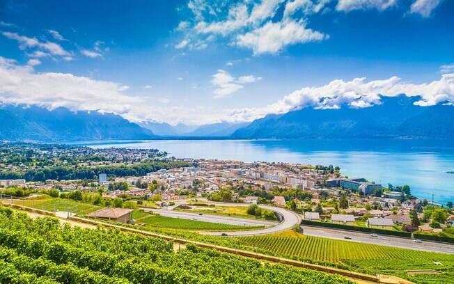 A cidade de Vevey, na Suíça, fica às margens do Lago Genebra e está em 9º lugar no ranking