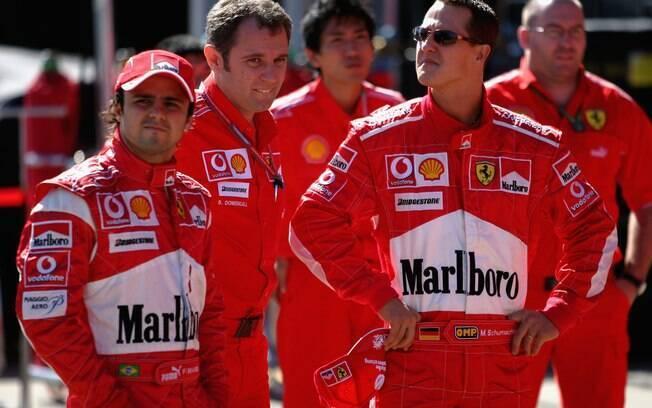 Em 2006, em seu último ano na Ferrari, o alemão teve Felipe Massa como companheiro de equipe. Foto: Getty Images
