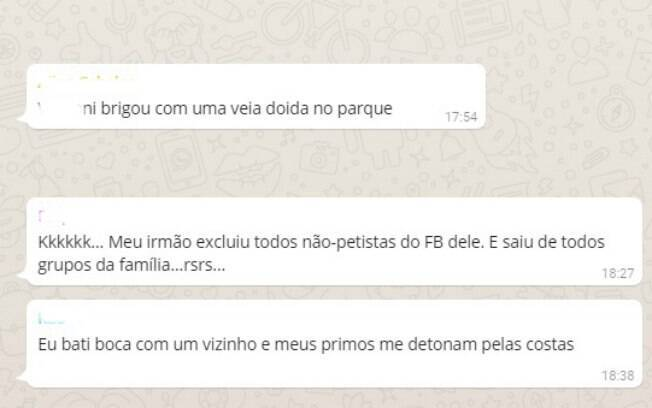 Depoimentos de amigas em grupo de Whatsapp sobre situações de confronto político
