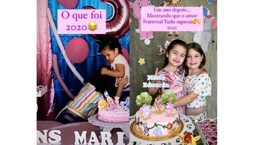 As irmãs Maria Eduarda e Maria Antônia brigaram pela vela do bolo em 2020, mas este ano selaram a paz
