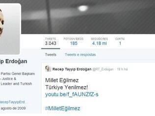 A página de Erdogan possui mais de 4 milhões de seguidores