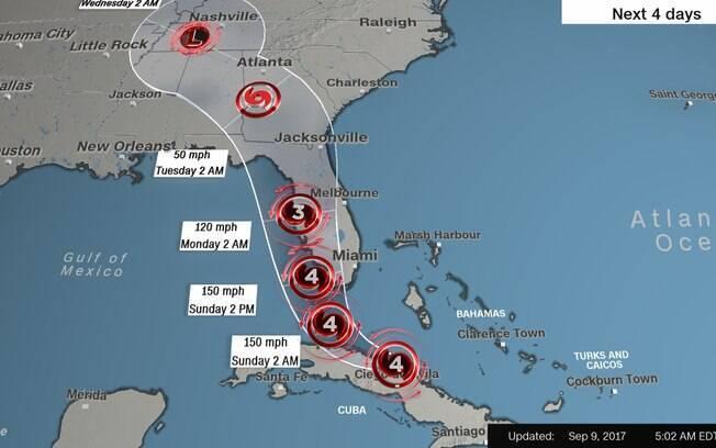 Furacão Irma chega a Cuba hoje e seguirá ao estado da Flórida, após devastação e mortes nas ilhas caribenhas