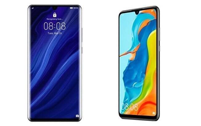 Da esquerda para a direita, os modelos da Huawei são: P30 Pro (R$ 5.499) e P30 Lite (R$ 2.499)