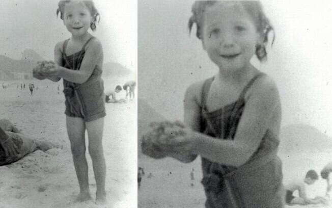 Susana Vieira quando criança na praia de Copacabana