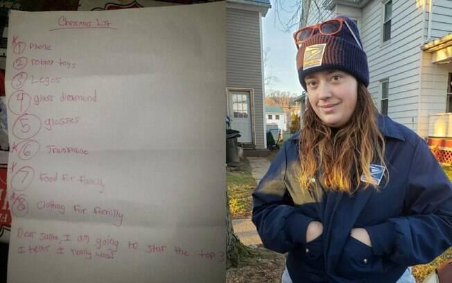 Melissa encontrou a carta de um menino para o Papai Noel que pedia comida e roupas para sua família