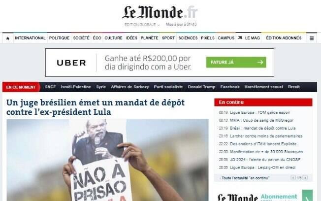 Ordem de prisão de Lula é manchete do jornal francês