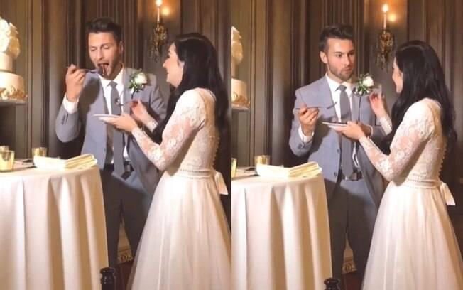 Noivo estraga a tradição do bolo de casamento