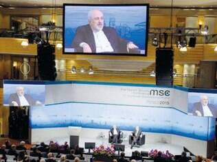 O chanceler iraniano Mohammed Javad Zarif, em Munique
