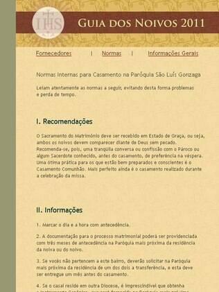 Reprodução do guia dos noivos da Paróquia São Luís Gonzaga, em São Paulo, disponível na internet