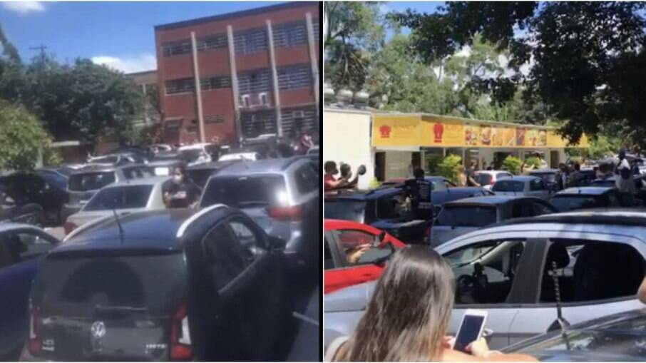 O campus da universidade foi ocupado por uma fila de carros