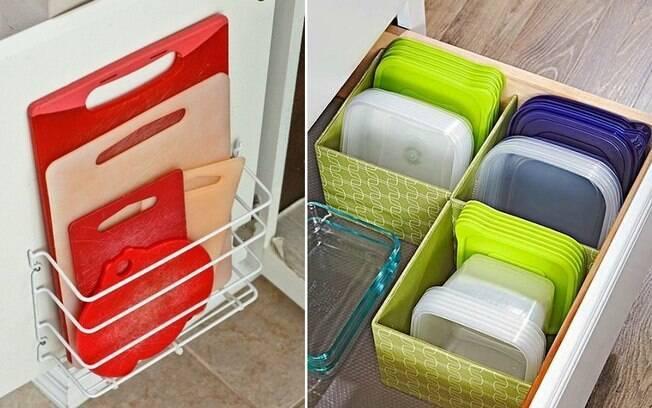Usar aramados ou prateleiras e agrupar potes inutilizados por tamanho e formato são saídas para organizar a cozinha