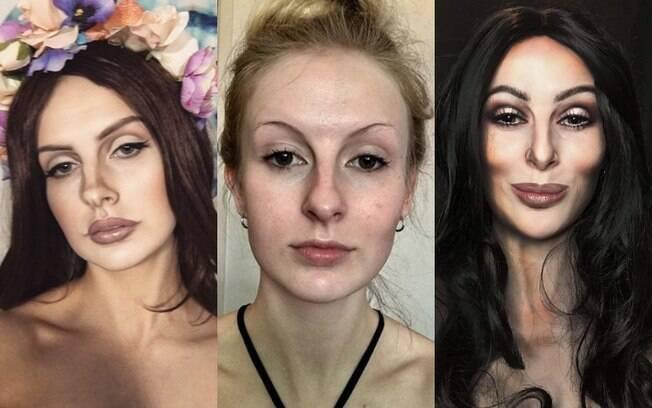 A jovem australiana Rhylee Passfield aposta na técnica de  maquiagem artística para se transformar em celebridades